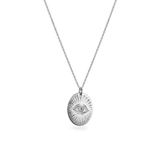 """9ct White Gold Large Oval Pendant - 24"""" Trace Chain"""