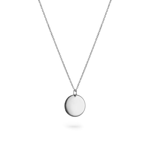 """9ct White Gold Large Round Pendant - 22"""" Trace Chain"""