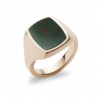 Stone Set Cushion Signet Ring | Bloodstone | 14ct Yellow Gold