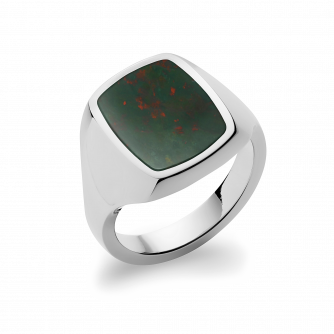Stone Set Cushion Signet Ring | Bloodstone | Platinum