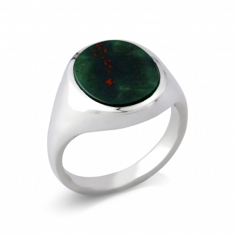 Stone Set Oval Signet Ring | Bloodstone | Platinum