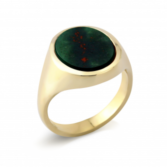 Stone Set Oval Signet Ring | Bloodstone | 14ct Yellow Gold