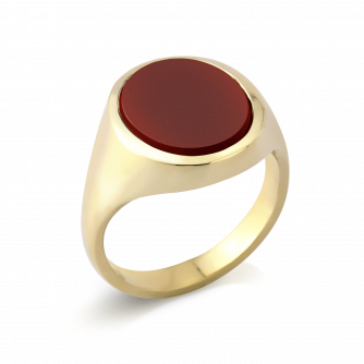 Stone Set Oval Signet Ring | Cornelian | 9ct Yellow Gold