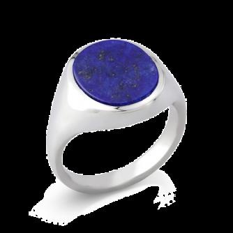 Stone Set Oval Signet Ring   Lapis Lazuli   Platinum