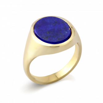 Stone Set Oval Signet Ring | Lapis Lazuli | 14ct Yellow Gold