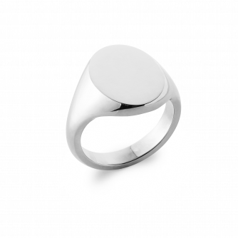14ct White Gold Signet Ring, Oxford Oval | Extra Heavy Weight