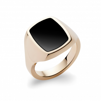 Stone Set Cushion Signet Ring | Onyx | 18ct Yellow Gold