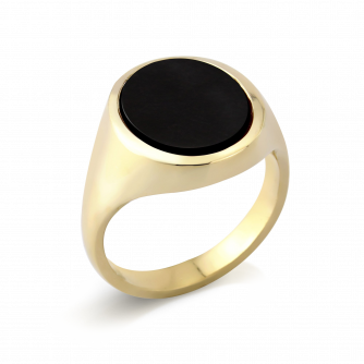 Stone Set Oval Signet Ring | Onyx | 14ct Yellow Gold