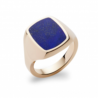 Stone Set Cushion Signet Ring | Lapis Lazuli | 14ct Yellow Gold