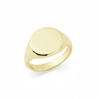 9ct Yellow Gold Signet Ring , Round
