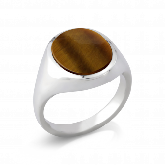 Stone Set Oval Signet Ring | Tigers Eye | Platinum