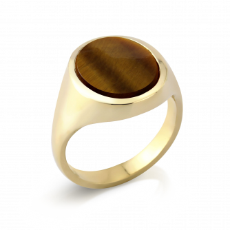 Stone Set Oval Signet Ring | Tigers Eye | 9ct Yellow Gold