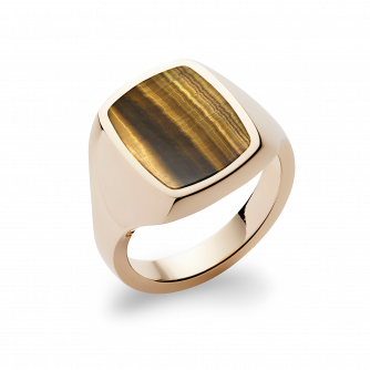 Stone Set Cushion Signet Ring | Tigers Eye | 14ct Yellow Gold