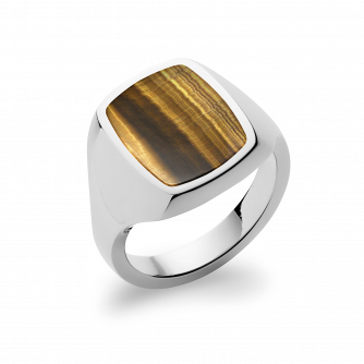 Stone Set Cushion Signet Ring | Tigers Eye | Platinum