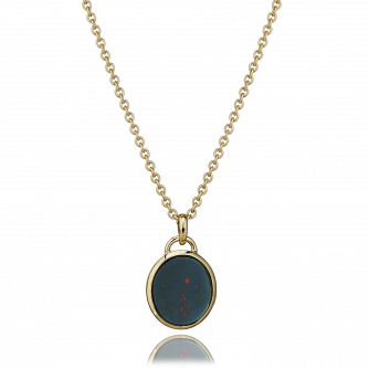 18ct Yellow Gold Bloodstone Oval Pendant