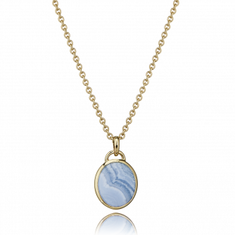 9ct Yellow Gold Blue Lace Agate Oval Pendant