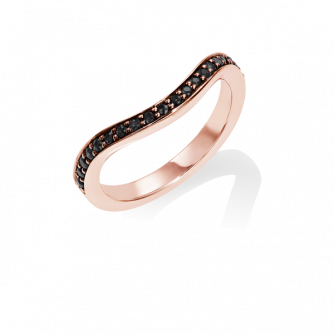 Black Diamond Keeper Eternity Ring, 18ct Rose Gold