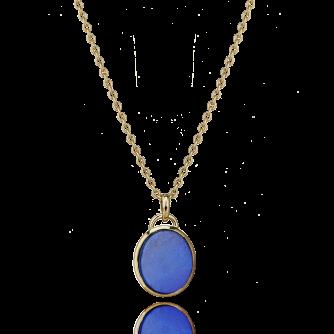 18ct Yellow Gold Lapis Lazuli Oval Pendant