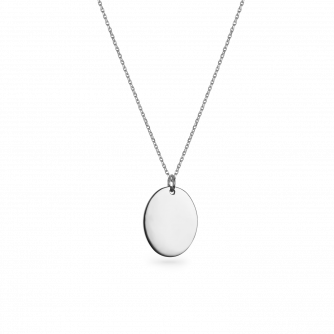 9ct White Gold Large Oval Pendant