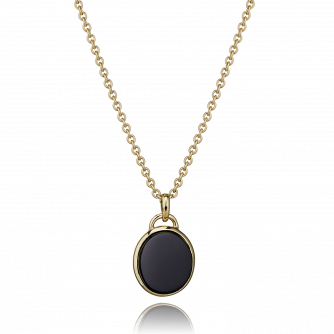 18ct Yellow Gold Black Onyx Oval Pendant