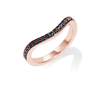 Blue Sapphire Keeper Eternity Ring, 18ct Rose Gold